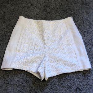 Zara Basic White Shorts Embroidered high waist